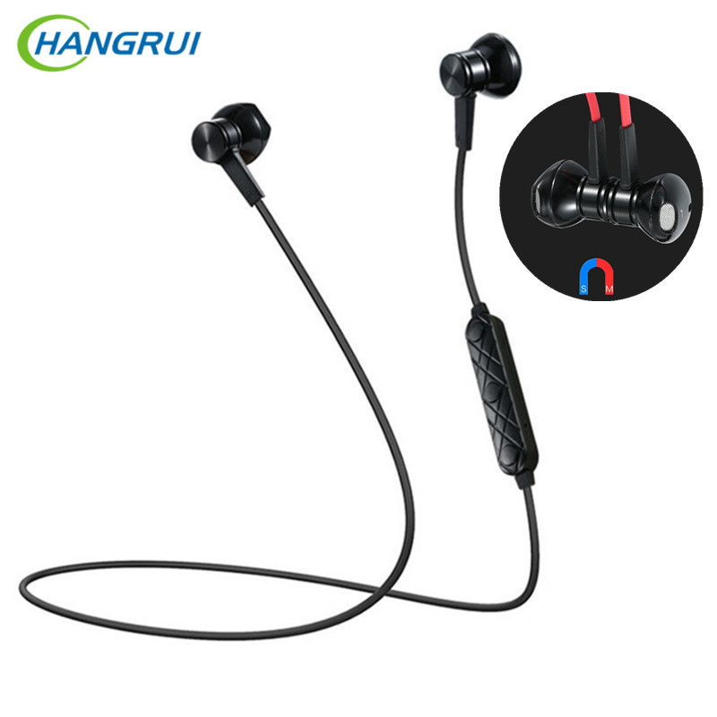 HANGRUI Magnetic In Ear Earphones Super Bass Sport Bluetooth Headset with Mic stereo wireless earbuds HiFi earphone for Xiaomi