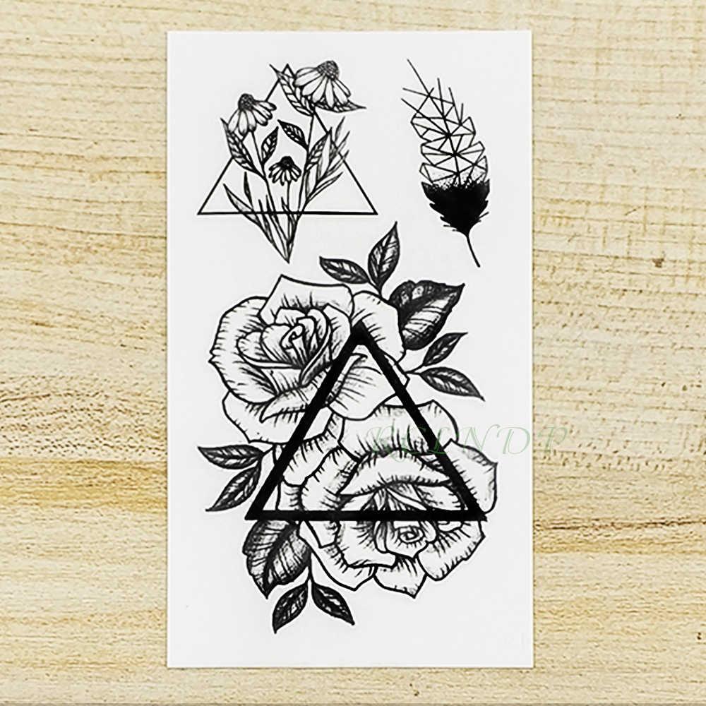 Waterproof Temporary Tattoo Sticker Feather Rose Triangle Fake Tatto Flash Tatoo Tatouage Neck Hand Back Foot For Girl Women Men