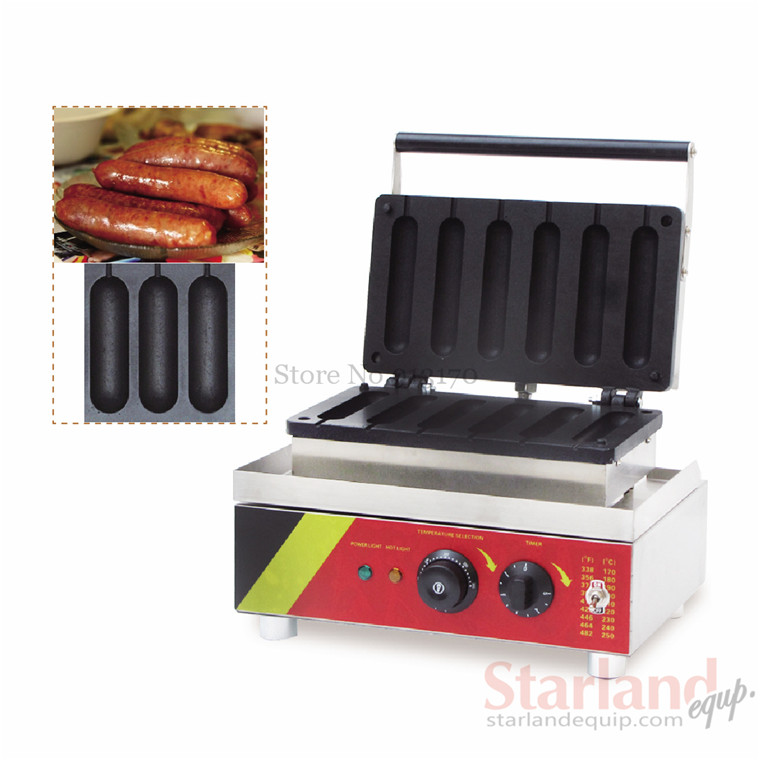 Sausage baking machine commercial hot dog  maker stainless steel lolly waffle maker with sixs moulds stainless steel commercial corn dog waffle maker lolly waffle maker machine for sale