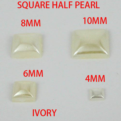 New  square shape half pearl ivory color square half imitation pearls 4mm  6mm 8mm 10mm to choose free shipping free shipping imitation pearls chain flatback resin material half pearls chain many styles to choose one roll per lot