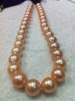 Free shipping 003542 huge AAA+++ south sea 13 15mm pink pearl necklace jewelry 18 14