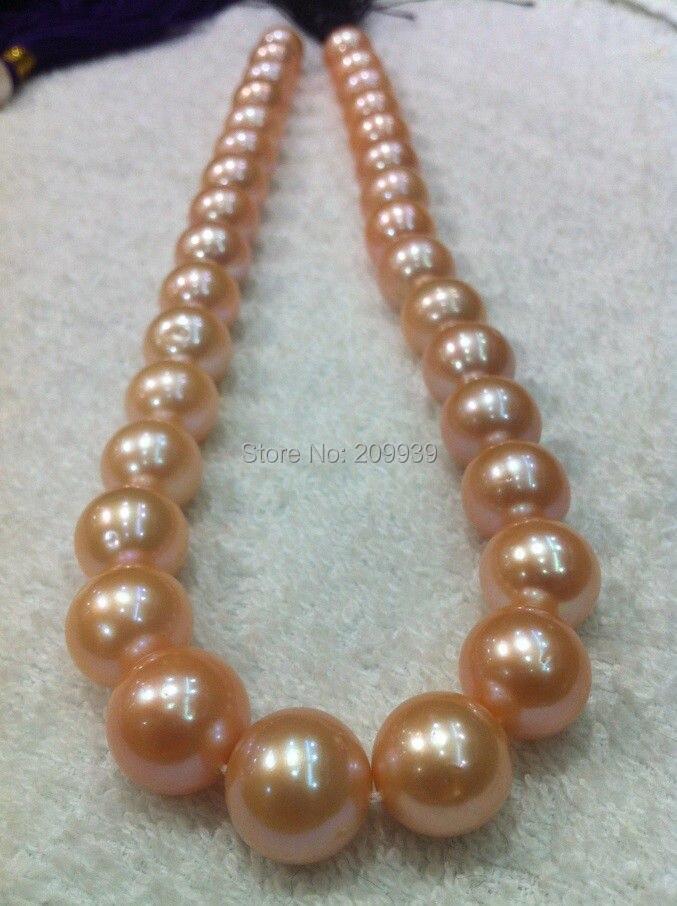 Livraison gratuite 003542 énorme AAA + + + mer du sud 13-15mm rose collier de perles bijoux 18
