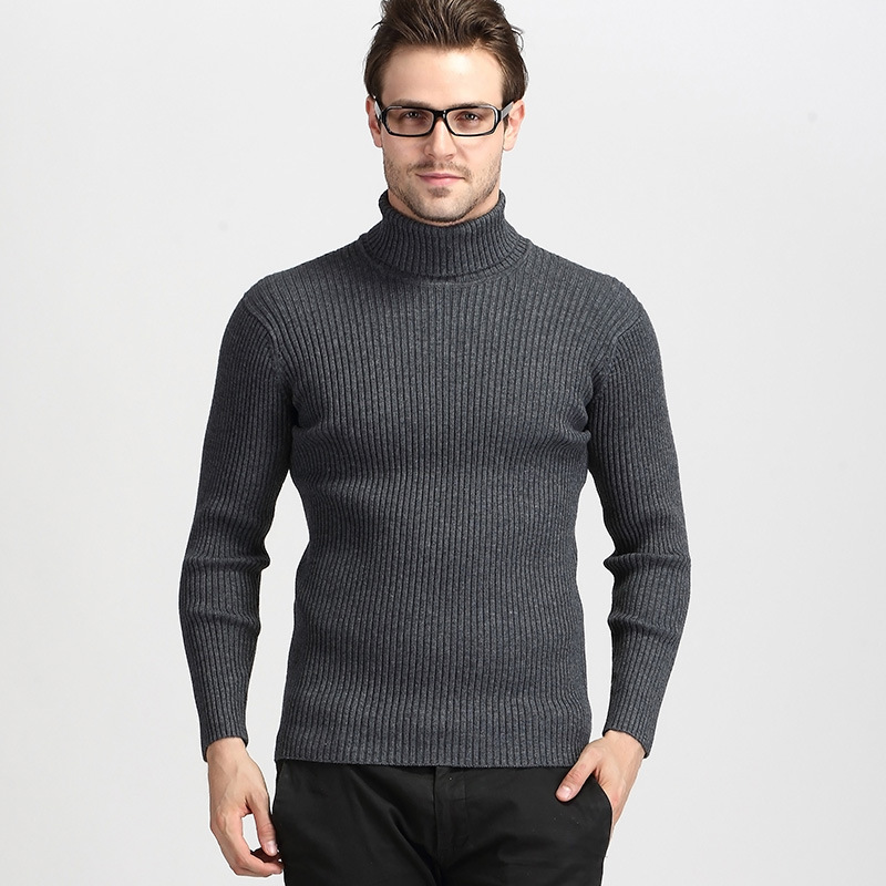 Winter Men's Thick High Collar Sweater Mens Casual Turtleneck Warm Cashmere Sweater Solid Color Slim Fit Wool Knitwear Pullover