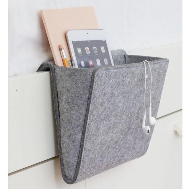 Grey Bed Storage Pockets Felt Bedside Hanging Storage