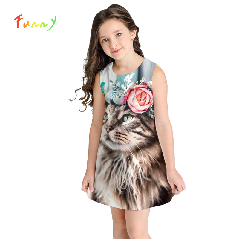 Girl Dress Summer Cute Cat Toddler Girl Dresses Sleeveless Flower Print Kids Dresses for Girls Clothes 10 12 Year VestidosGirl Dress Summer Cute Cat Toddler Girl Dresses Sleeveless Flower Print Kids Dresses for Girls Clothes 10 12 Year Vestidos