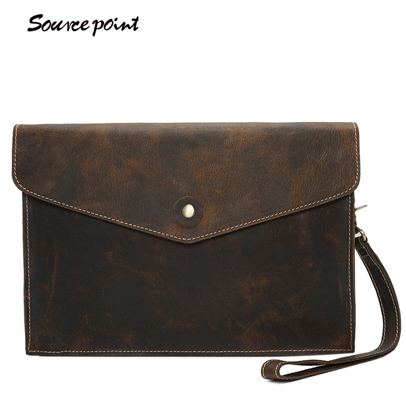 YISHEN Men's Crazy Horse Leather Clutch Bags Vintage Business File Bags Fashion Casual Crossbody Bags Male Shoulder Bag YD-02133 yishen genuine leather men business handbag briefcase crazy horse leather male shoulder crossbody bags vintage casual totes 1208