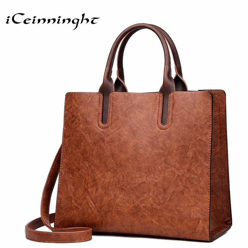 iCeinnight Women Handbag PU Leather Bag Large Capacity Tote Bag Big Ladies Shoulder Bags Famous Brand vintage Bolsas Feminina 2018 new women bag ladies shoulder bag high quality pu leather ladies handbag large capacity tote big female shopping bag ll491
