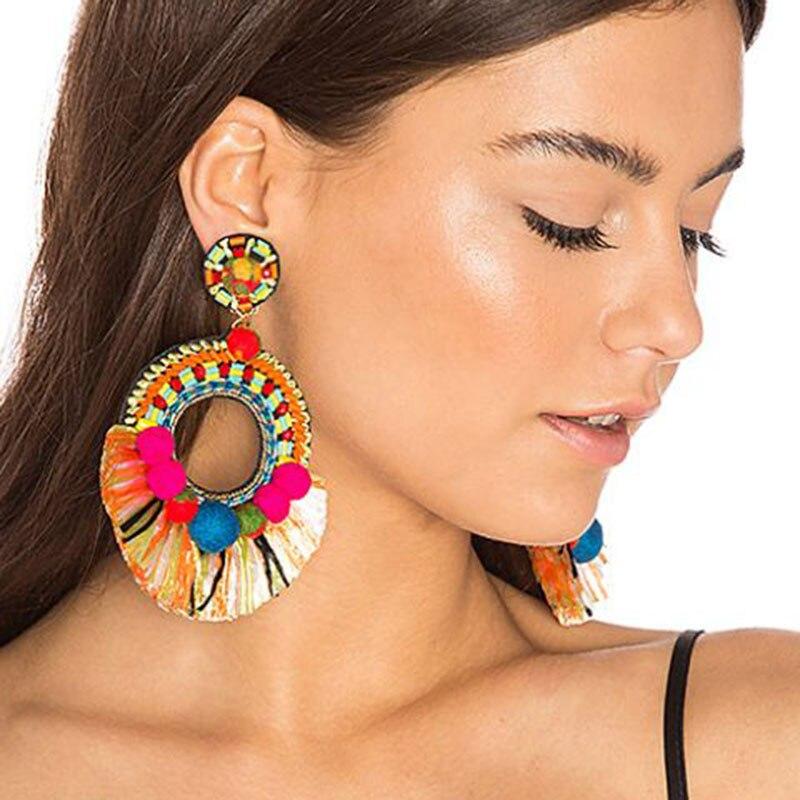 Best lady New Fashion Multicolored Tassel Big Dangle Earrings Women Female Gifts Boho Wedding Drop Earrings Jewelry Wholesale