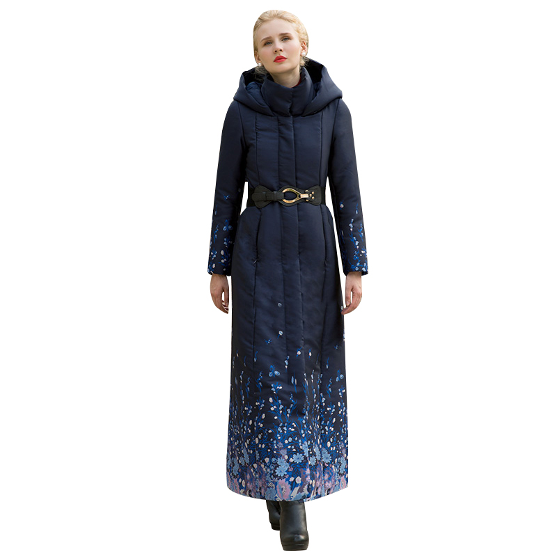 Haute Qualité S-4XL Coton Laine Grand Manteau Femmes Imprimé Fleurs D'hiver Marine Parka Plus La Taille X longue Veste Chaud Avec ceinture Cap 1037