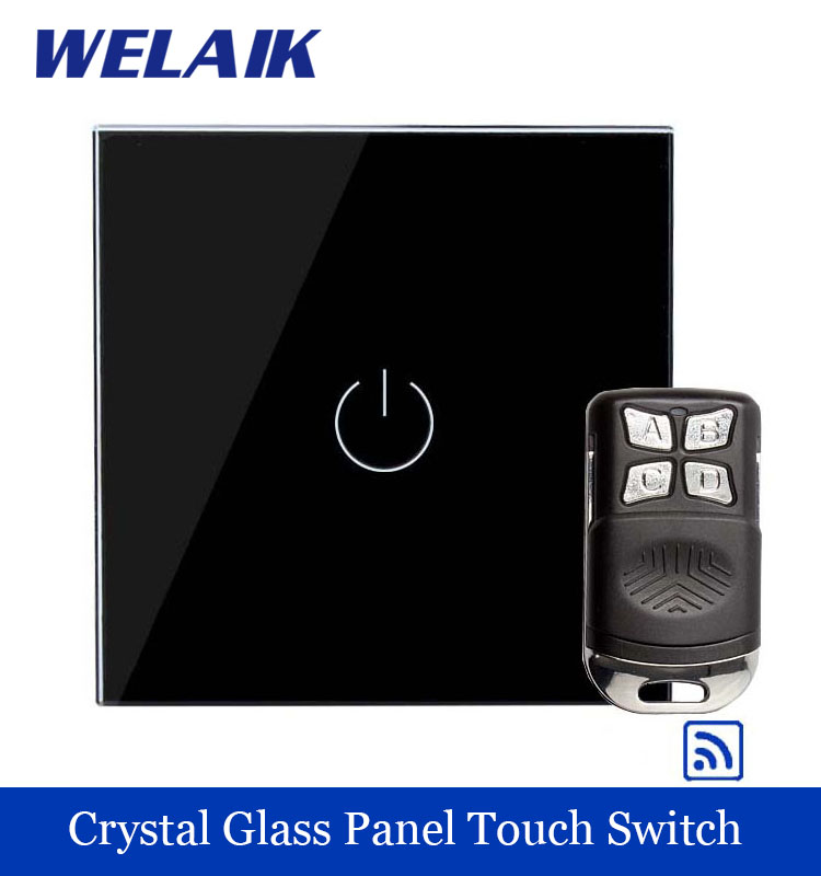 WELAIK Glass Panel Switch black Wall Switch EU remote control Touch Switch Screen Light Switch 1gang1way AC110~250V A1913BR01 welaik crystal glass panel switch white wall switch eu remote control touch switch light switch 1gang2way ac110 250v a1914xw b