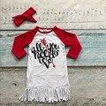 Meninas do bebê de algodão dia dos namorados boutique dress meninas todos os u precisa é amor dress coração dress com headband