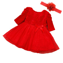 Baby Girl Dress Party Dresses Long Short Sleeve Princess Red