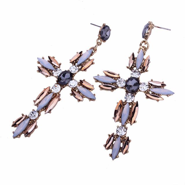 Big Cross Earrings For Women Large statement Earrings crystal dangle earing