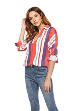 chic women blouse cute female ladies new womens striped  casual elegant office work top shirt