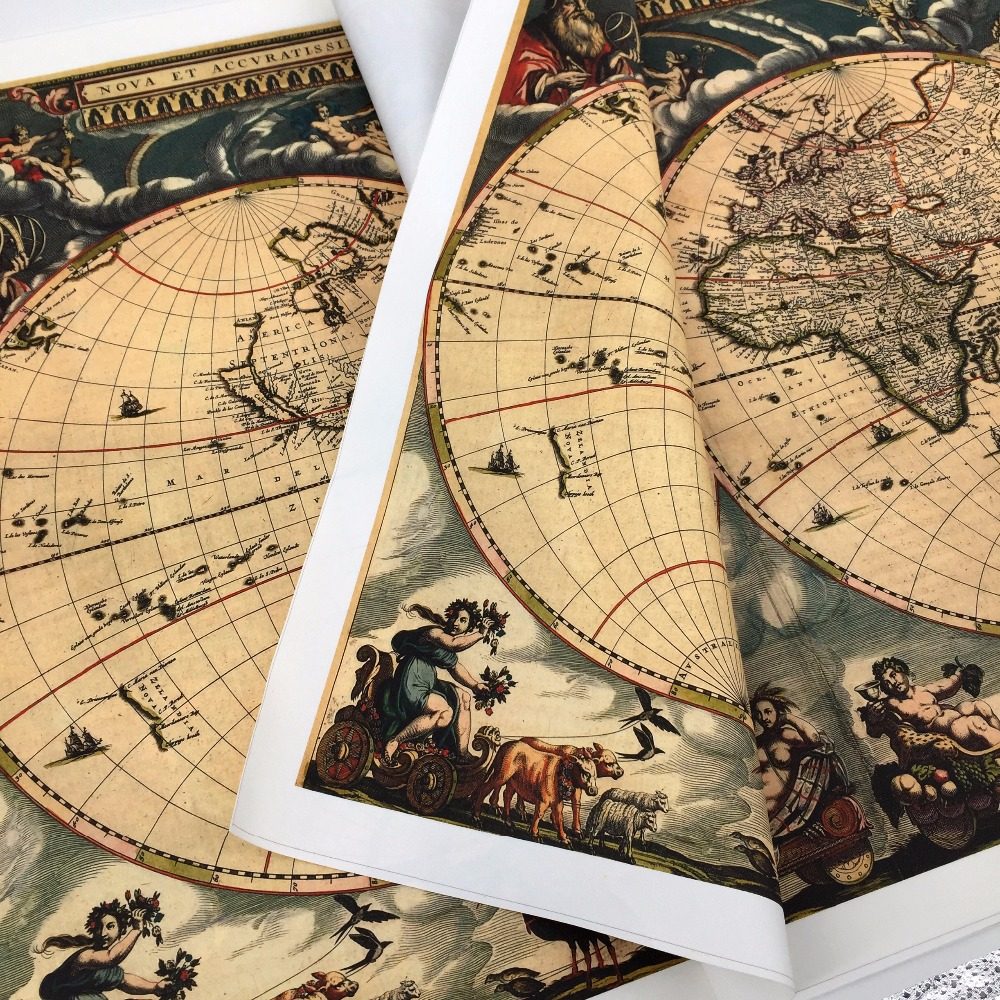LK MP 042 About retro Vintage world Map canvas oil painting cuadros ...