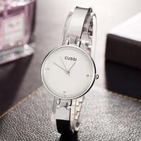 A219 CUSSI Luxury Silver Womens Watches Ladies Bracelet Watches Fashion Casual Dress Quartz Wristwatch reloj mujer Clock Gifts