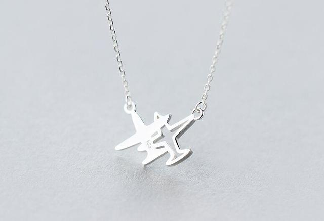 925 Sterling Silver Double Plane / Aircraft Necklace Pendant