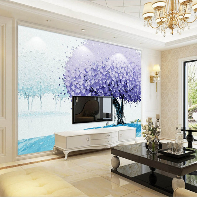Wholesale Purple Big Tree Oil Painting 3d Wall Photo Mural Washable wallpaper for Living Room TV Background 3d Wall Mural Fresco 3d ручка feizerg f001 purple fp001