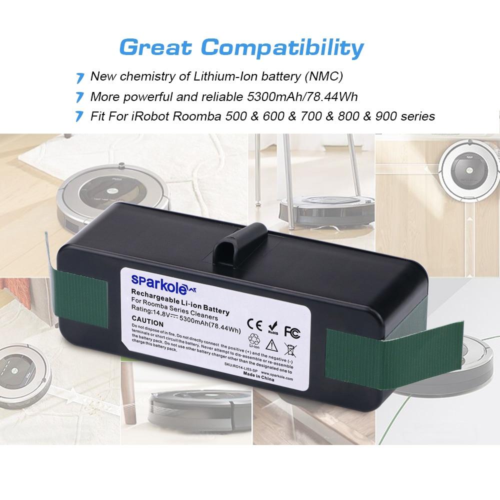 sparkole 5 3ah 14 8v li-ion battery for irobot roomba 500 600 700 800  series 510 531 550 560 580 620 630 650 760 770 780 870 880
