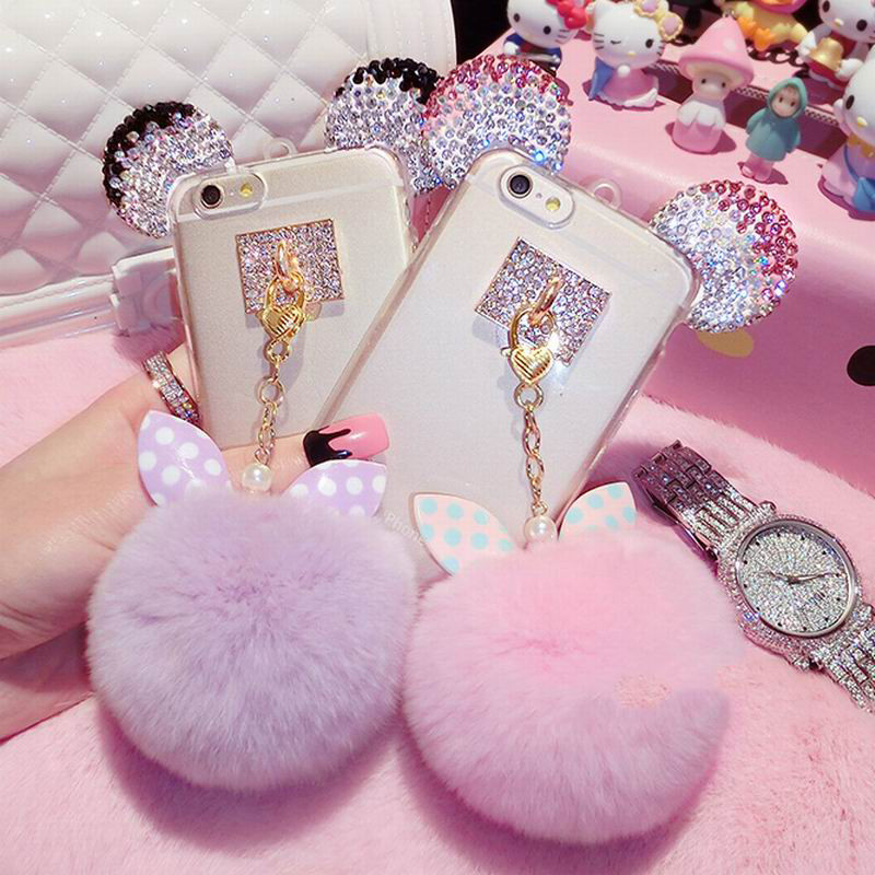 Fashion DIY 3D Bling Crystal Cute Mice Ear Head Bowknot Fur Ball Tassel Soft Clear TPU Case For iPhone 6 6S 7 Plus Girly Cases