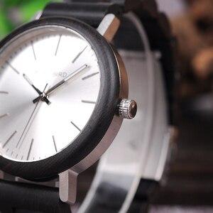 Image 2 - Bobo pássaro novo design relógios de madeira banda quartzo relógio de pulso para homem e mulher aceitar oem transporte da gota w * q07