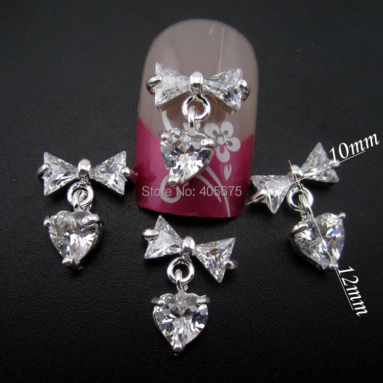 Mns713 Nails Decorations New Arrive Zircon Bow Nail Art 3d Glitter