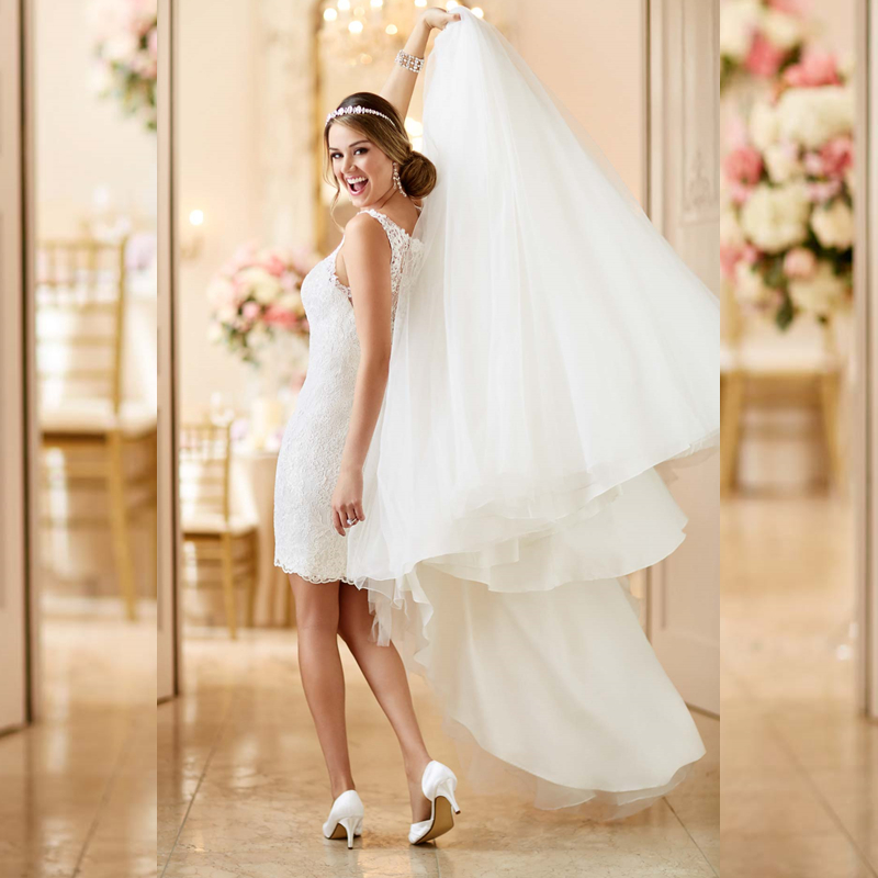 Buy illusion lace back wedding dresses for Short wedding dress with long train