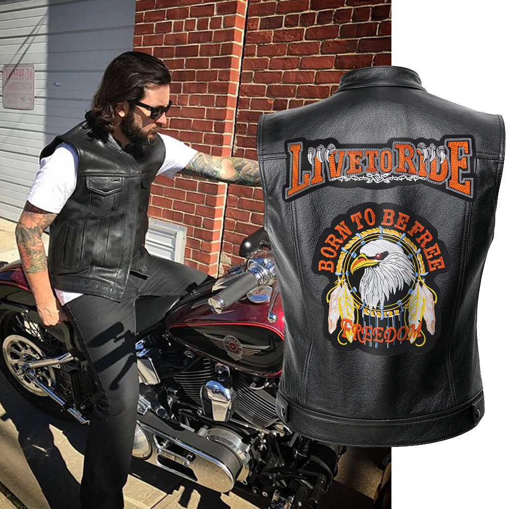 Mens Leather Motorcycle Vest Live To Ride Jacket Men Spring Jackets Black Motorrad Gilet