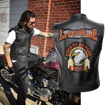 Skórzane męskie buty motocyklowe kamizelka na żywo do jazdy kurtka mężczyźni kurtki wiosenne czarne motocyklowe kamizelki tanie i dobre opinie CN (pochodzenie) STANDARD Faux leather Skóra i zamszowe Skóra syntetyczna KF006 REGULAR Wykładany kołnierzyk Patchwork