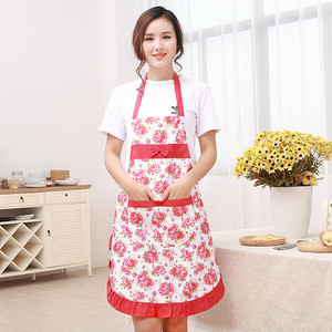 Image 5 - 1Pcs Bowknot Flower Pattern Apron Woman Adult Bibs Home Cooking Baking Coffee Shop Cleaning Aprons Kitchen Accessories 46002
