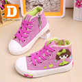 Cute Princess Girls Shoes Canvas Lace Children Shoes New 2017 Spring Casual Print Zip Girls Sneakers Toddler High Rubber Sneaker