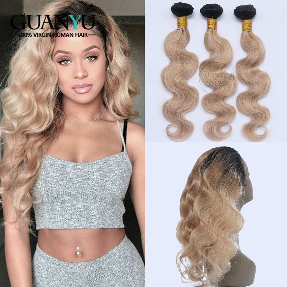 360 Lace Frontal With Bundles Brazilian Body Wave Remy Human Hair Weave Ombre #1B/27 Honey Blonde