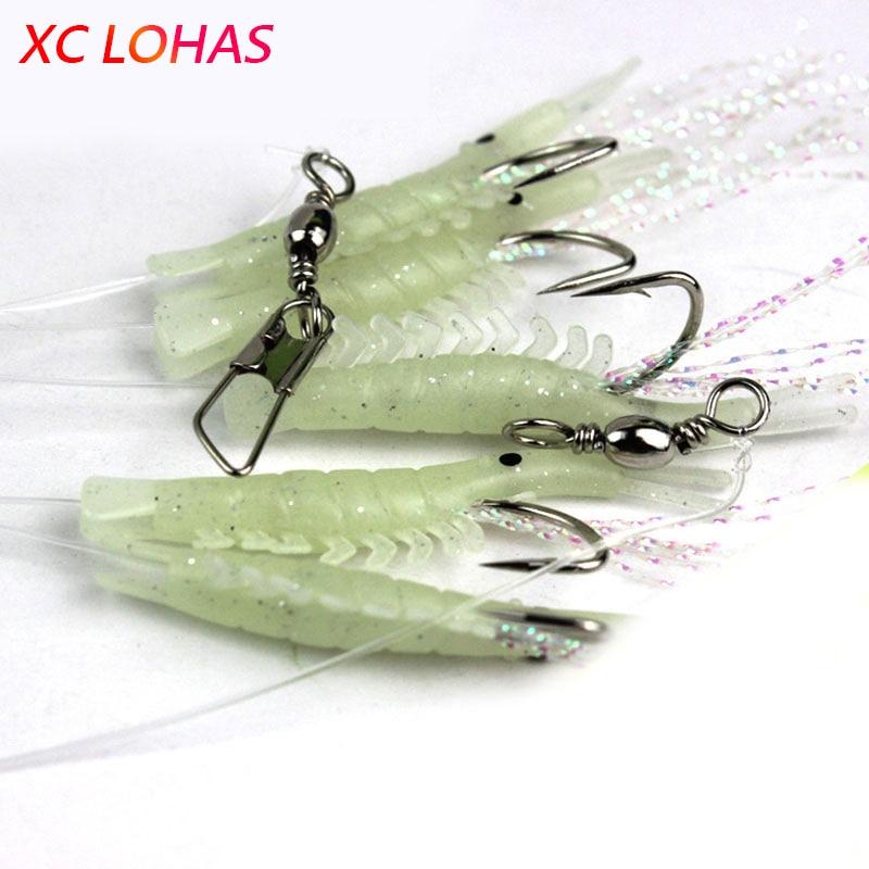 5 Pcs/Set Artificial Shrimp Fishing Rigs Night Luminous Shrimp Lure Hook Soft Rubber Lures Bait Fishhooks 1#-6# Fishing Tackle стоимость