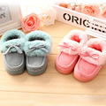 Autumn/Winter Kids Baby Home Shoes Cotton Slippers Cute Indoor Shoes Children Girls/Boys Shoes With Bow Warm Leisure Shoes