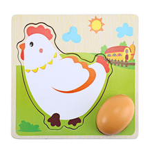 Hot Sale 3D Puzzle Mulit Layer Chicken Hen Lay Eggs Growing Up Cartoon Children Kids Wooden Puzzles Panel Process Early Emulatio