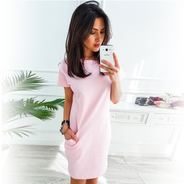 O-neck Short Sleeve Solid Party Dress Loose Straight Fashion Pockets Elegant Feminina Vestidos Casual Vintage Women Summer New