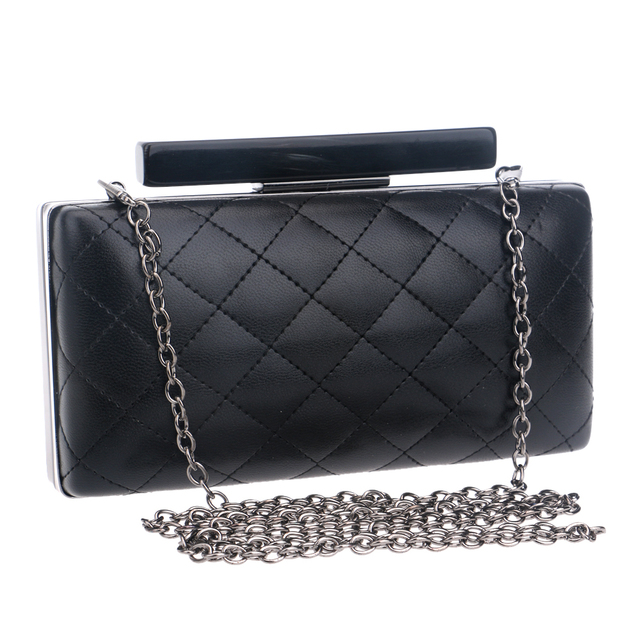 Small PU fashion women evening bags check design chain shoulder day clutches handbags 3 colors women leather evening bags