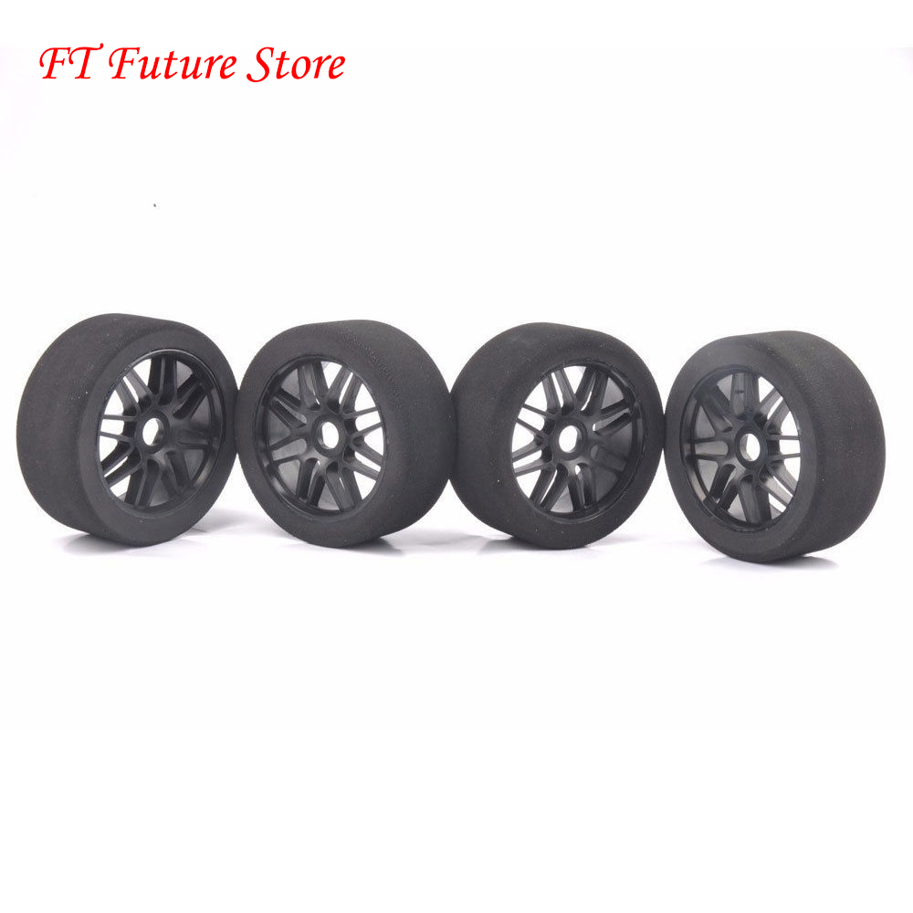 4Pcs Foam Tires Wheel Rims 105mm Dia Sponge Tyres For HSP HPI 1 8 RC Racing