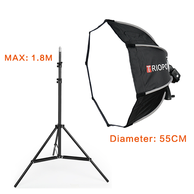 TRIOPO Photo Studio 65cm Portable Octagon Flash Speedlight Speedlite Umbrella Softbox Brolly Reflector 2m Light Stand