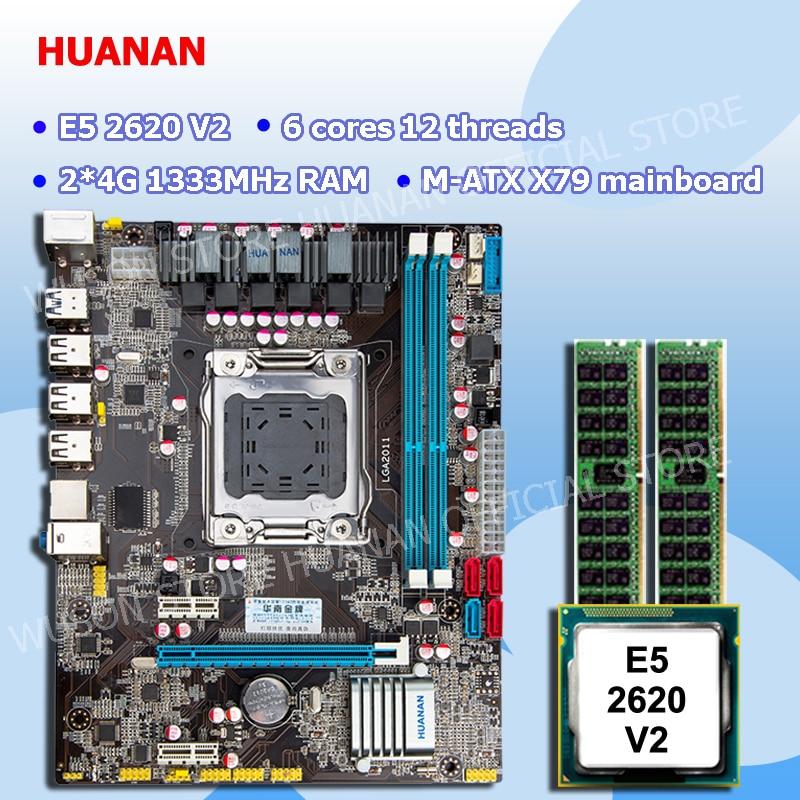 Marca de descuento placa base combo HUANAN ZHI M-ATX X79 LGA2011 placa base con CPU Intel Xeon E5 2620 V2 SR1AN RAM 8G REG ECC