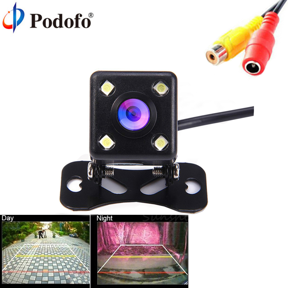 Podofo Car Rear View Camera Universal 4 LED Night Vision Backup Parking Reverse Camera Waterproof 170 Wide Angle HD Color Image eunavi 8 led night vision car rear view camera universal backup parking camera waterproof shockproof wide angle hd color image