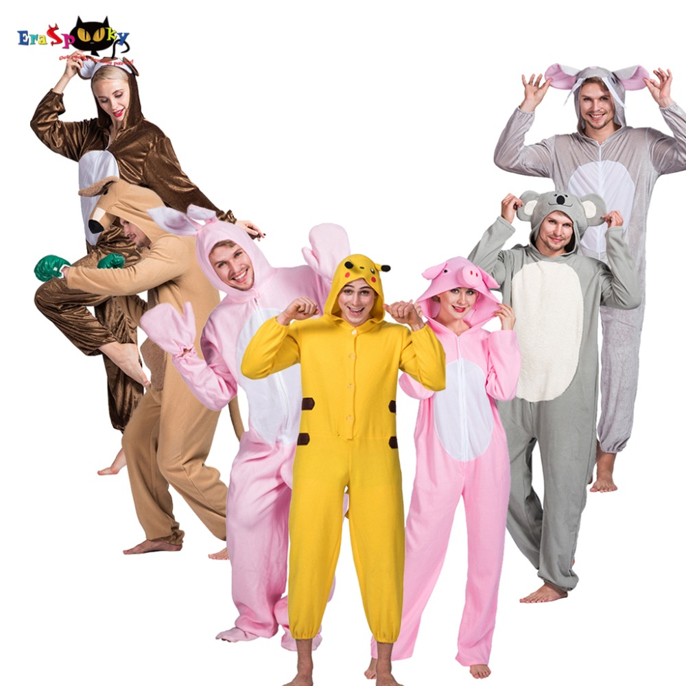 Animal Hood Jumpsuit Cartoon Anime Cosplay Onesie Halloween Costume Adult One piece Carnival Party Family Pajama Pikachu Tiger