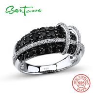 Silver Rings For Woman Black Spinel Cubic Zirconia Women Rings Pure 925 Sterling Silver Party Fashion