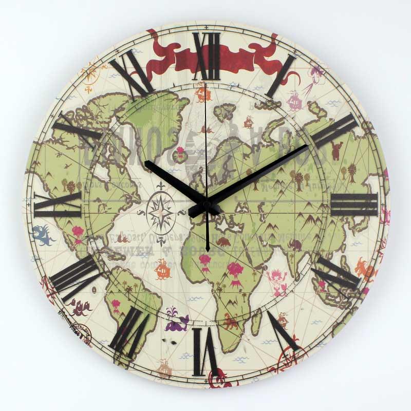 Clock World Map.Modern World Map Study Room Decoration Mute Wall Clock Fashion