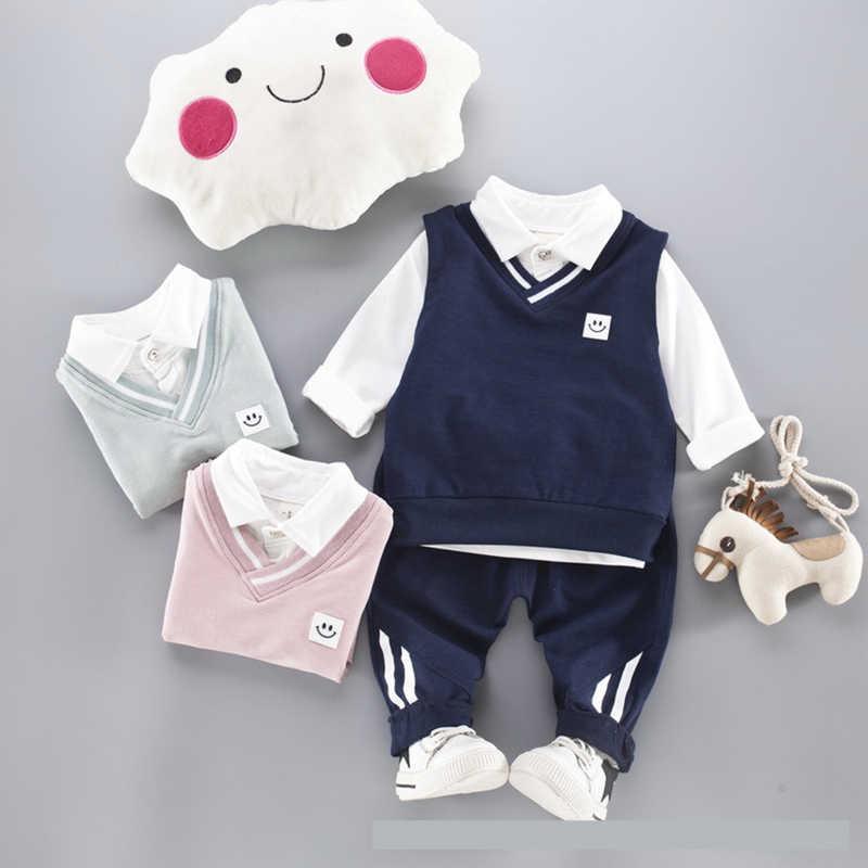Комплект одежды для маленьких мальчиков футболка + жилет штаны 3