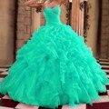 Doce 16 Vestidos Quinceanera Turquesa Querida C Masquerade Vestidos De Baile Verde da Hortelã 15 Anos Vestido Barato