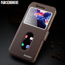 NKOBEE Oneplus 5 Case Original Leather Flip Cover Oneplus 5 Case Luxury Call Window Funda Case For One plus 5 Phone A5000 5.5""