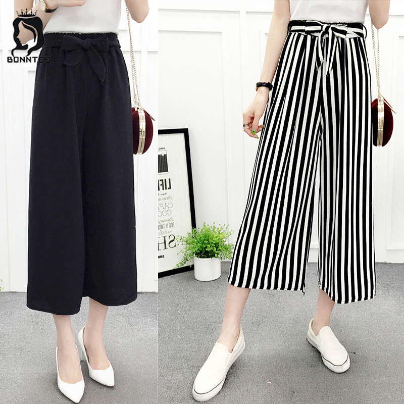 Women High Waist Pant Chic Wide Leg Pants Daily Style Females Loose Breathable Trendy Female Sash Plaid Womens Trousers 6 Colors