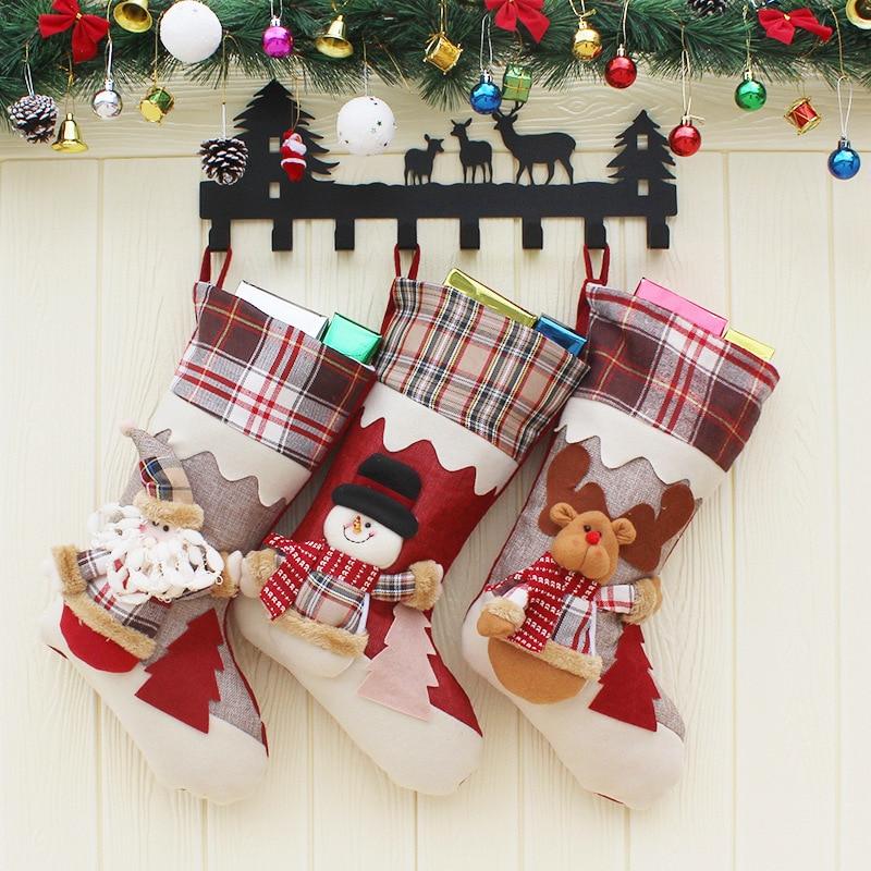 Christmas Stocking Santa Socks Christmas Gift Bags For Kids ...