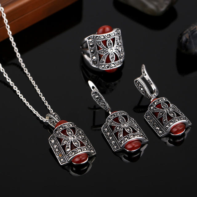 Hensen Brand Hight Quality Fashion Vintage Jewelry Set Red Resin And Black Crystal Antique Silver Plated Jewelry Sets